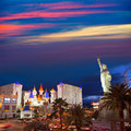 Editorial use only las vegas nevada strip at night new york in spring Stock Photo