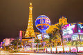 Editorial use only las vegas nevada strip at night paris in spring Stock Photos