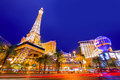 Editorial use only las vegas nevada strip at night paris in spring Stock Images