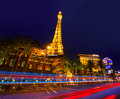 Editorial use only las vegas nevada strip at night paris in spring Royalty Free Stock Images