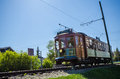 Edmonton high level railway bridge streetcar a traditional steetcar from the radial connecting from the alberta arts barn gateway Royalty Free Stock Images
