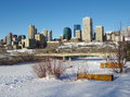 Edmonton in winter the downtown skyline of alberta canada the Stock Image