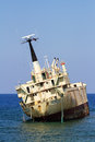 Edro III cargo ship aground near the shore of the Sea Caves Royalty Free Stock Photo