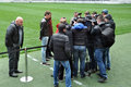 Eduardo and journalists ahead of the match with karpaty lviv the pitmen's number answered questions from Royalty Free Stock Image