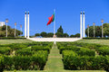 Eduardo vii park big portuguese flag on top of the in lisbon portugal Stock Image