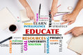 EDUCATE word cloud. The meeting at the white office table Royalty Free Stock Photo