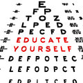 Educate yourself abstract eye chart background design isolated on white Royalty Free Stock Photos