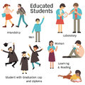 Educated student set students in many characters man and woman walking with friend learning in laboratory reading and graduation Royalty Free Stock Images