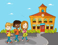 Education back to school cartoon kids walking illustration vector layered for easy personalization Stock Photo