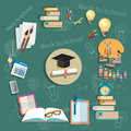 Education back to school school subjects diploma exams school board concept study college textbooks notebooks vector illustration Royalty Free Stock Image