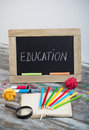 Education background with special school supplies, end of holida
