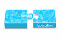 Education an blue puzzle box denoted the combination of learning and Stock Photo