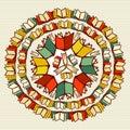 Education books back to school mandala. Royalty Free Stock Photo