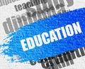 Education on the Brickwall. Royalty Free Stock Photo
