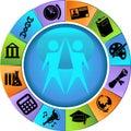 Education Button Set - Wheel Royalty Free Stock Photo
