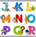 Education cartoon alphabet letters for kids illustration of funny capital with objects language and vocabulary children from j to Stock Photography