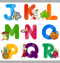 Education cartoon alphabet letters for kids illustration of funny capital with objects language and vocabulary children from j to Royalty Free Stock Photo