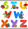 Education cartoon alphabet letters for kids illustration of funny capital with objects language and vocabulary children from s to Royalty Free Stock Images