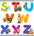 Education cartoon alphabet letters for kids illustration of funny capital with objects language and vocabulary children from s to Stock Photo