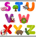 Education cartoon alphabet letters for kids illustration of funny capital with objects language and vocabulary children from s to Stock Images