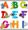 Education cartoon alphabet letters for kids illustration of funny capital with objects language and vocabulary children from a to Royalty Free Stock Photography