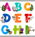 Education cartoon alphabet letters for kids illustration of funny capital with objects language and vocabulary children from a to Stock Images