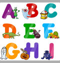 Education cartoon alphabet letters for kids illustration of funny capital with objects language and vocabulary children from a to Stock Image