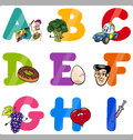 Education cartoon alphabet letters for kids illustration of funny capital with objects language and vocabulary children from a to Royalty Free Stock Photos