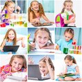 Education collage schoolchildren are trained Royalty Free Stock Photography