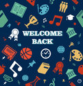 Education colorful icons seamless pattern background back to school welcome back vector layered for easy editing Royalty Free Stock Image