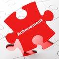 Education concept achievement on puzzle background red pieces d render Stock Photos