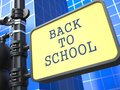 Education concept back to shool roadsign scool on blue background Stock Photo