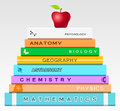 Education concept with books and apple vector illustration Royalty Free Stock Images
