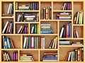 Education concept. Books and textbooks on the bookshelf. Royalty Free Stock Photo