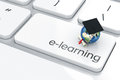 Education concept d render of graduation cap with earth icon on the keyboard Stock Photography