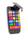 Education concept d render of smartphone with graduation cap Stock Image