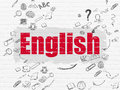 Education concept: English on wall background Royalty Free Stock Photo