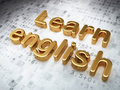 Education concept: Golden Learn English on digital Stock Image