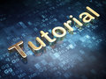 Education concept: Golden Tutorial on digital Stock Photo