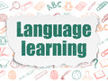 Education concept language learning on torn paper painted green text background with hand drawn icons d render Stock Images