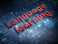 Education concept red language learning on digital background d render Royalty Free Stock Photo