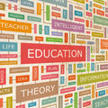 Education concept related words in tag cloud conceptual info text graphic word collage Royalty Free Stock Photos