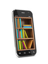 Education concept smartphone with bookshelf e book library Stock Image