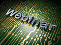 Education concept webinar on circuit board background with word d render Stock Photos