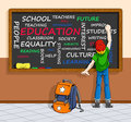 Education concept in word cloud illustration of schoolboy writing a about on a chalkboard you can clear the words and write your Royalty Free Stock Images