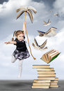 Education creative concept , child girl fly on book
