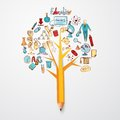 Education doodle concept with research science school icons on pencil tree vector illustration Stock Image