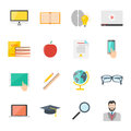 Education e-learning flat icon set. online internet education vector collection