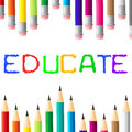 Education educate means studying learned and college indicating training schooling development Royalty Free Stock Image