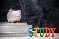 Education financial saving. Pink Piggy bank on top of books with Royalty Free Stock Photo